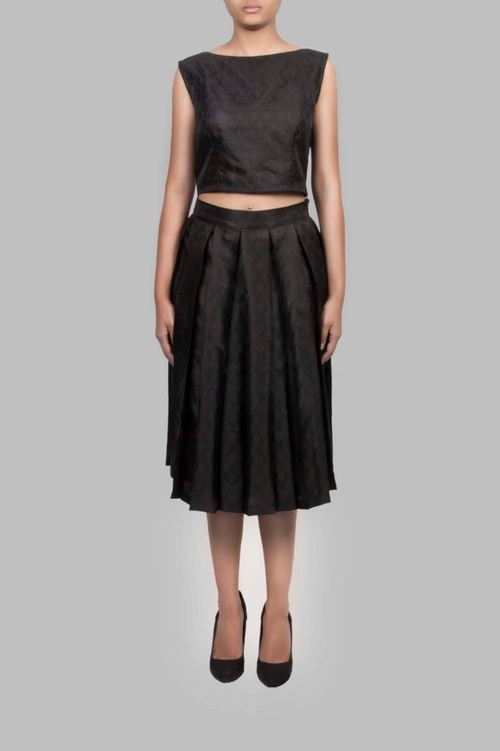 BROCADE PLEATED SKIRT
